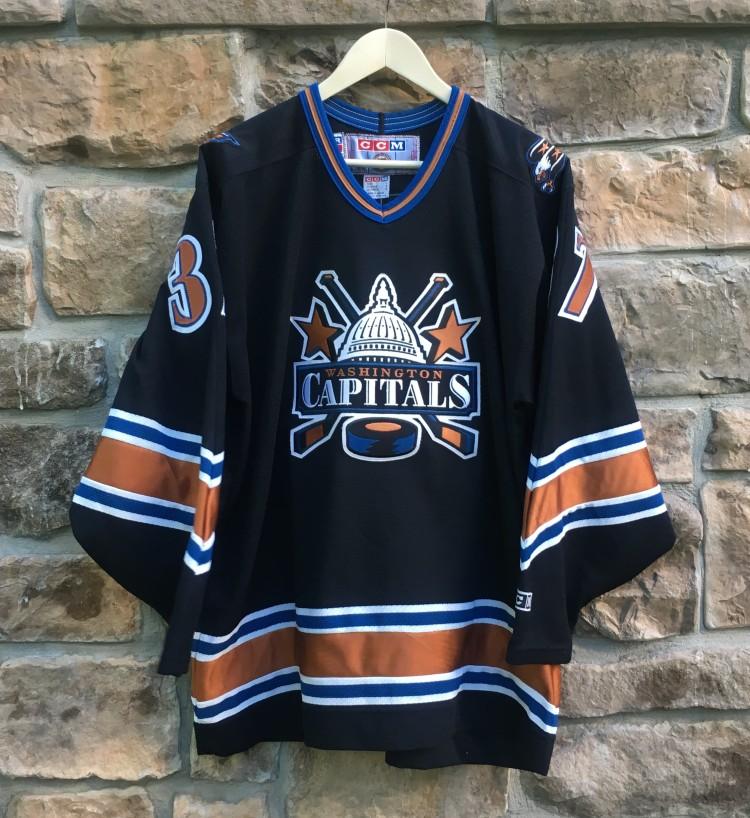 724b2d04416 vintage 90's Olaf Kolzig black alternate Washington Capitals CCM nhl jersey  size large