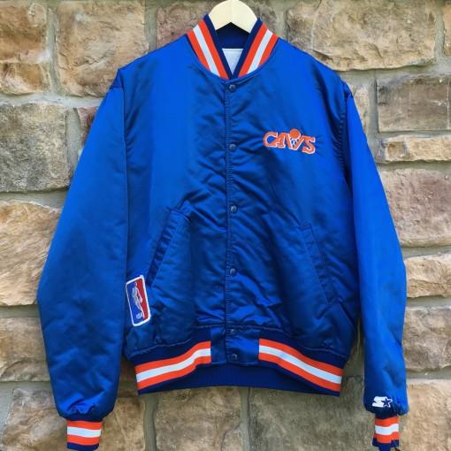 vintage 80's Cleveland Cavaliers Starter satin bomber jacket blue orange size large