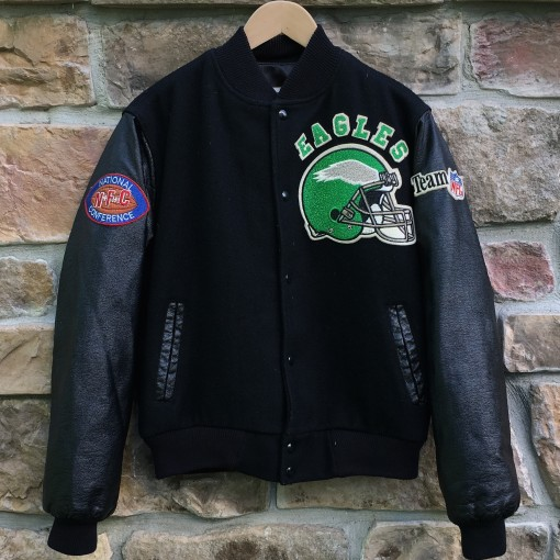 VINTAGE 80's philadelphia eagles chalkline letterman jacket leather chenille patch size small NFL