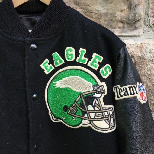 vintage black/kelly green philadelphia Eagles chalkline nfl jacket