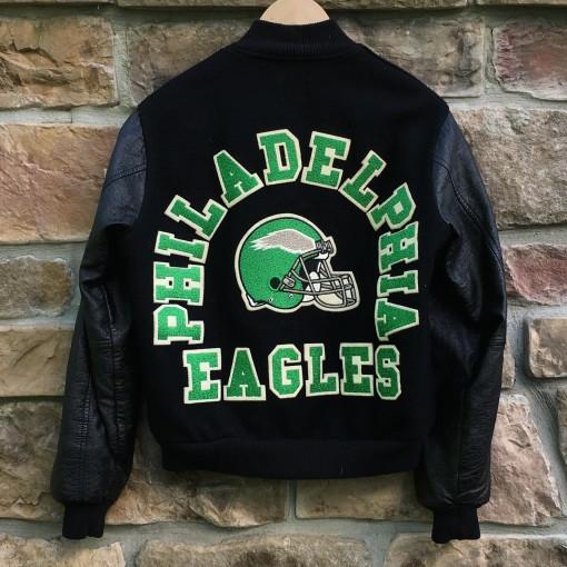 vintage 80's philadelphia eagles varsity letterman jacket chalkline size small