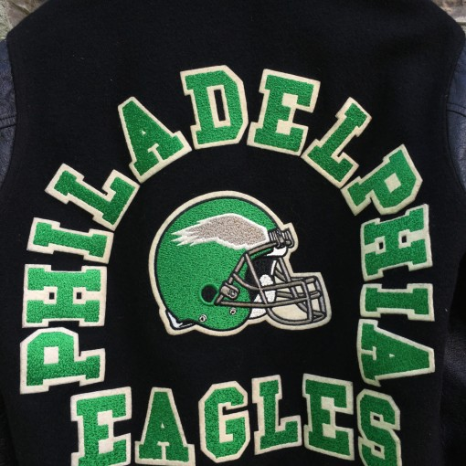 vintage kelly green chenille patch Philadelphia Eagles jacket
