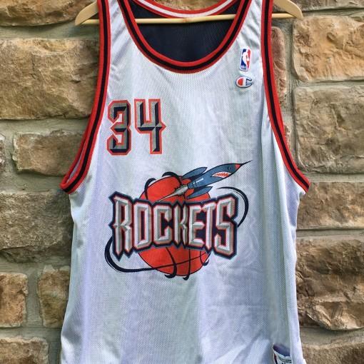 reversible hakeem olajuwon houston rockets 90s champion nba jersey size 48
