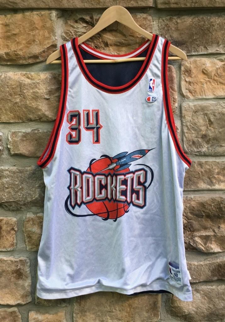 new concept cc6f0 54b64 1996 Hakeem Olajuwon Houston Rockets Reversible Champion NBA Jersey Size 48