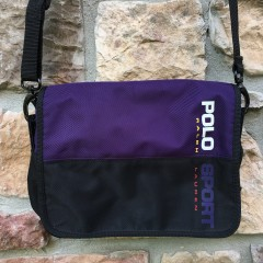 vintage 90's black purple polo sport bag