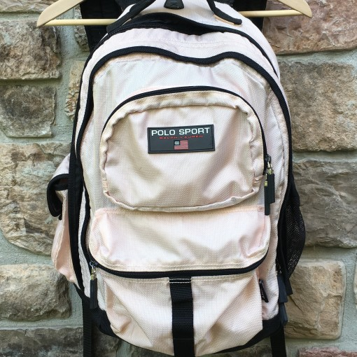 vintage 90's Polo Ralph Lauren Polo sport light pink backpack book bag
