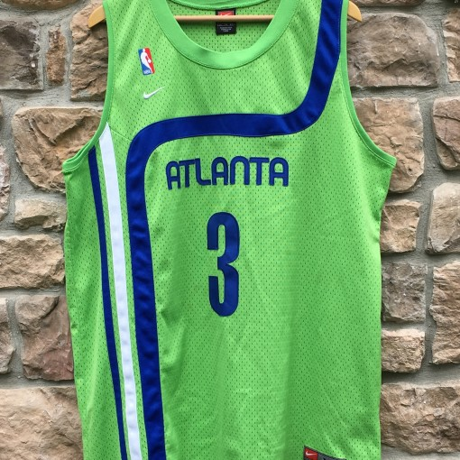 vintage Shareef Abdur Rahim atlanta Hawks lime green hardwood classic NBA jersey size XL swingman nike