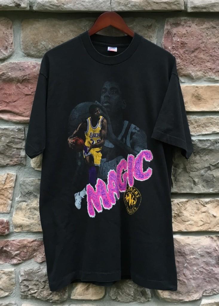 bc8bf11795c 1990 Magic Johnson LA Lakers NBA MVP T-Shirt Size XL