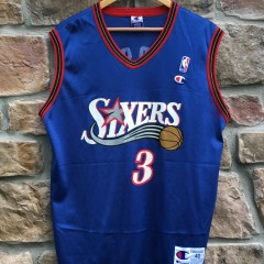 vintage 1999 Allen Iverson Philadelphia Sixers Champion blue alternate NBA jersey size 40 medium