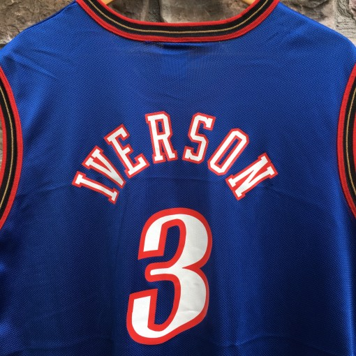 vintage 1999 Allen Iverson Philadelphia Sixers Champion blue alternate NBA jersey size 40 medium