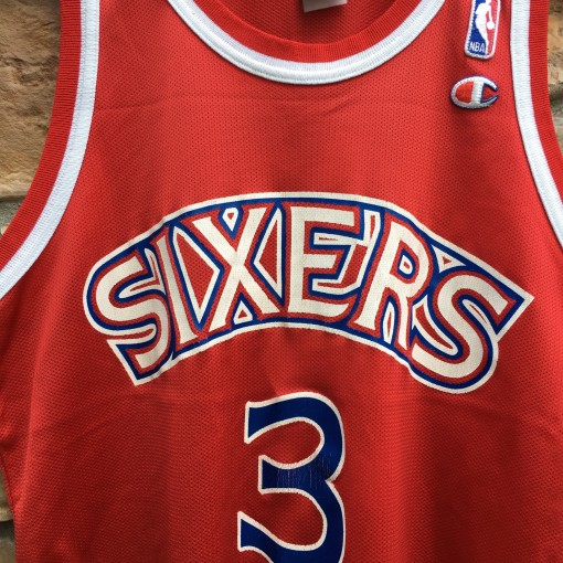 1997 Allen Iverson Philadelphia Sixers red rookie jersey size 40 medium champion
