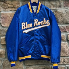 vintage 90's Wilmington Blue Rocks Minor League Baseball satin jacket size large Delong