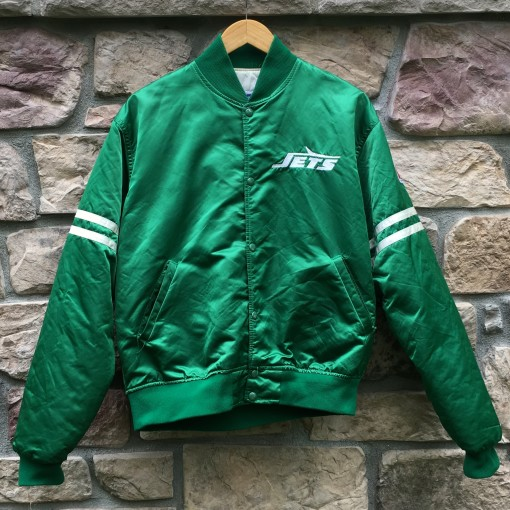 vintage 80's New York Jets Kelly Green Starter satin bomber NFL jacket size large