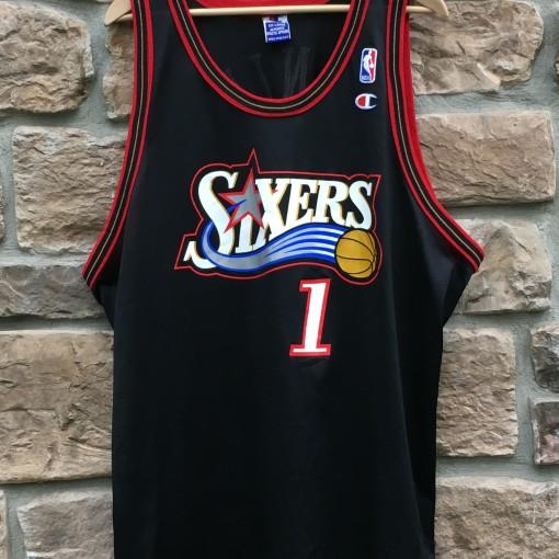 1997 Philadelphia 76ers Sixers Champion NBA jersey size 52 jennings