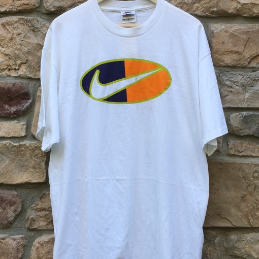 90's Nike Swoosh T shirt white orange size XL