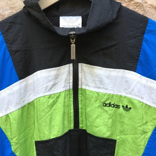 early 90's Adidas deadstock windbreaker jacket black blue acid green size medium