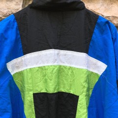 early 90's Adidas deadstock windbreaker jacket black blue acid green size medium
