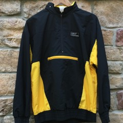 90's Adidas Torsion windbreaker jacket black yellow size small deadstock