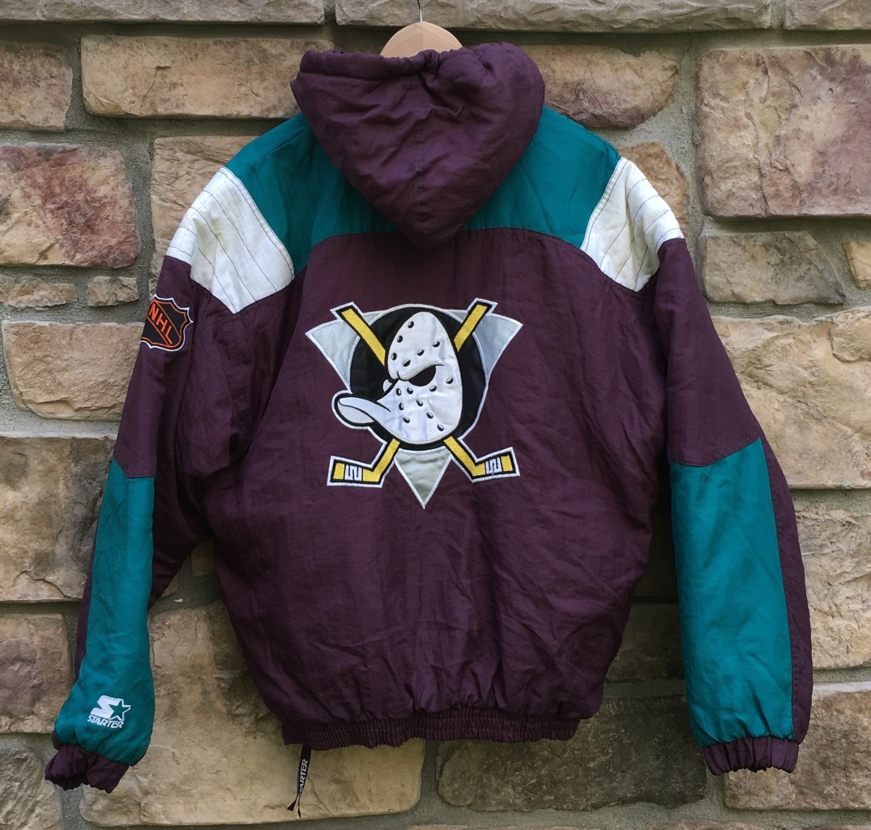 free shipping 948aa 91baf 90's Anaheim Mighty Ducks Starter Pullover NHL Jacket Size Medium
