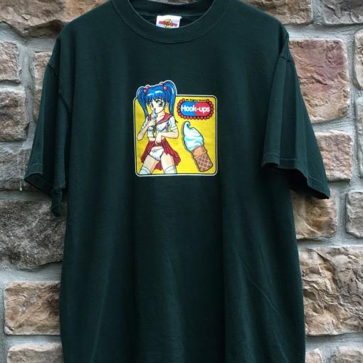 original 90's Hook Ups Skater t shirt size XL green