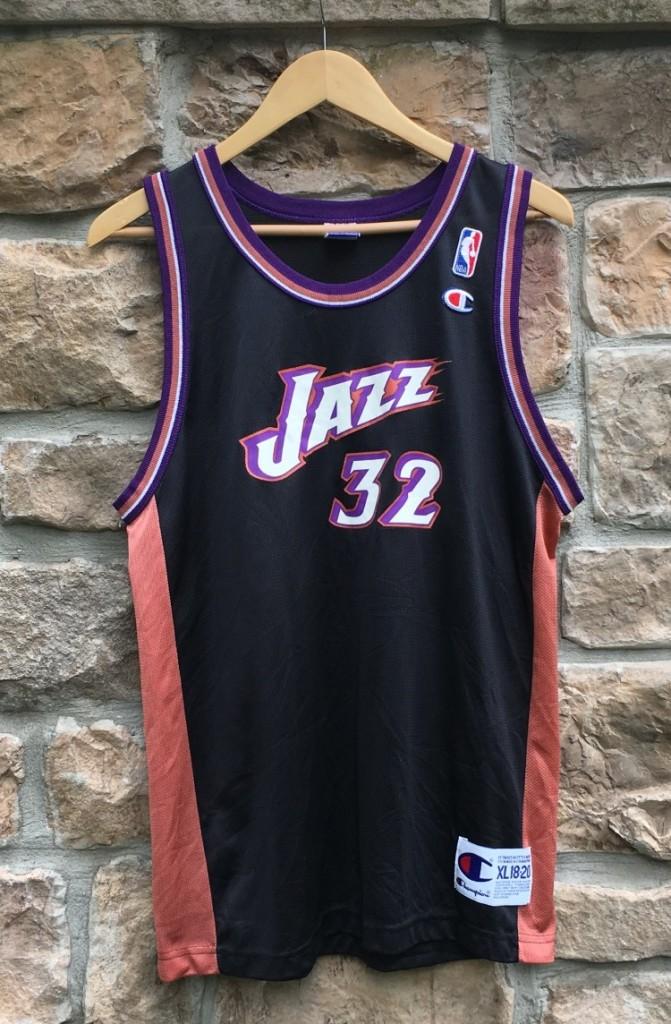 1998 Karl Malone Utah Jazz Champion NBA jersey black alternate youth size XL 2e4547034