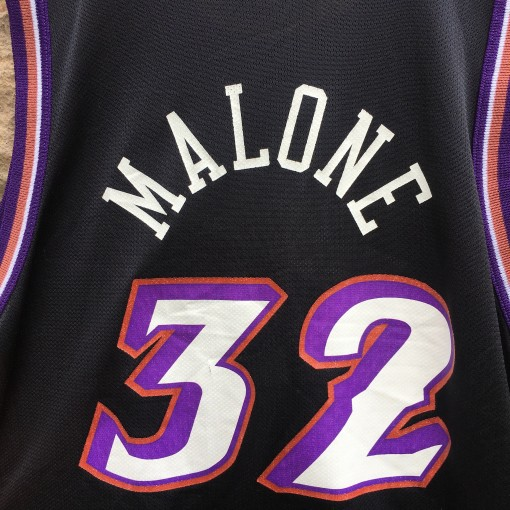 1998 Karl Malone Utah Jazz Champion NBA jersey black alternate youth size XL