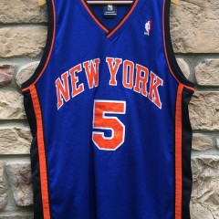 2005 Authentic Jalen Rose New York Knicks Reebok NBA jersey size 48 blue