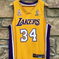 2001-02 Los Angeles Lakers Shaquille O'Neal Authentic nike jersey size 44 NBA Finals Unity ribbon