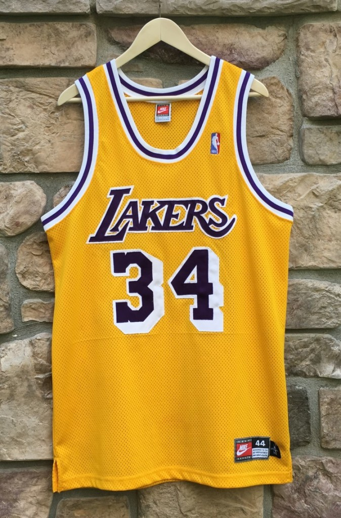 9b0ea1d26208 1998 Los Angeles Lakers Shaquille shaq O neal Nike authentic Jersey size 44  large mesh