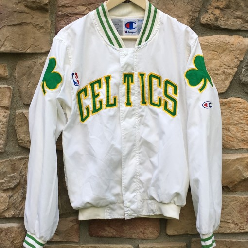 vintage 90's Boston Celtics Authentic Champion on court warm up NBA jacket size small white