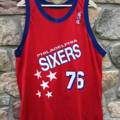 1993 Shawn Bradley Philadelphia Sixers Champion shooting stars NBA jersey size 48 XL