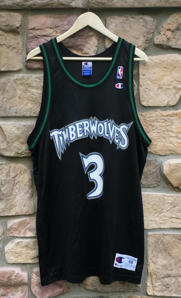024057ce889 90's Stephon Marbury Minnesota Timberwolves Champion NBA jersey black size  48