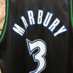 90's Stephon Marbury Minnesota Timberwolves Champion NBA jersey black size 48