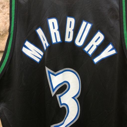 90's Stephon Marbury Minnesota Timberwolves Champion NBA jersey black size 48