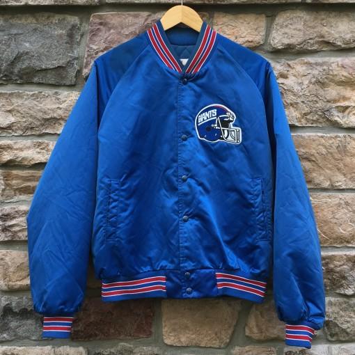 90's New York Giants Chalkline Satin NFL Jacket size Large blue