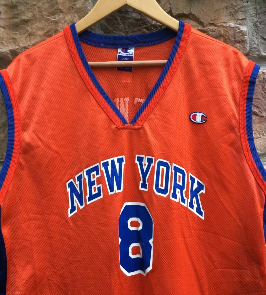 79eb3c9231e vintage Champion New York Knicks latrell Sprewell Orange NBA jersey size 44  Large
