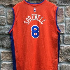 vintage Champion New York Knicks latrell Sprewell Orange NBA jersey size 44 Large