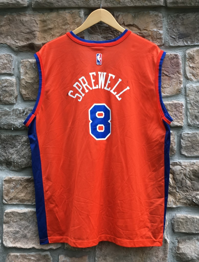 vintage Champion New York Knicks latrell Sprewell Orange NBA jersey size 44  Large c80e07b7f