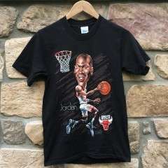 vintage 1991 Michael Jordan Salem Sportswear Chicago Bulls cartoon caricature t shirt youth size XL