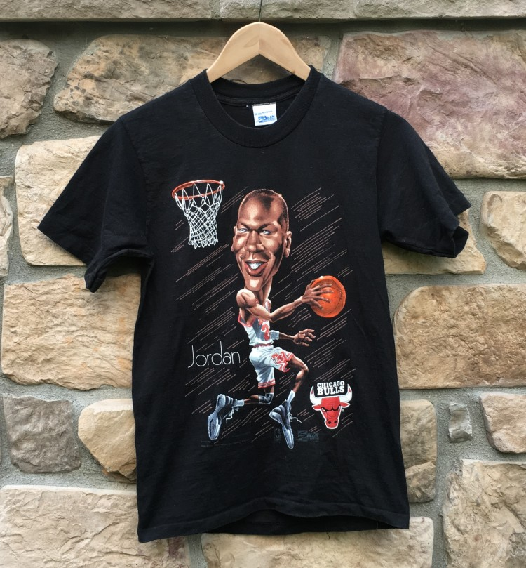 06a7e25ab2bf vintage 1991 Michael Jordan Salem Sportswear Chicago Bulls cartoon  caricature t shirt youth size XL