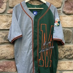 90's University of Miami Hurricanes Starter NCAA baseball jersey size large criss cross