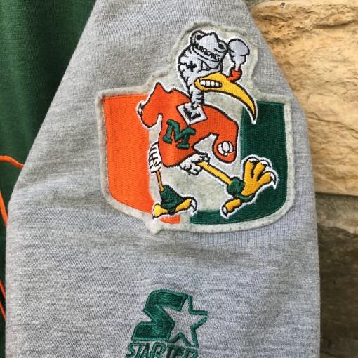 90's University of Miami Hurricanes Starter NCAA baseball jersey size large criss cross