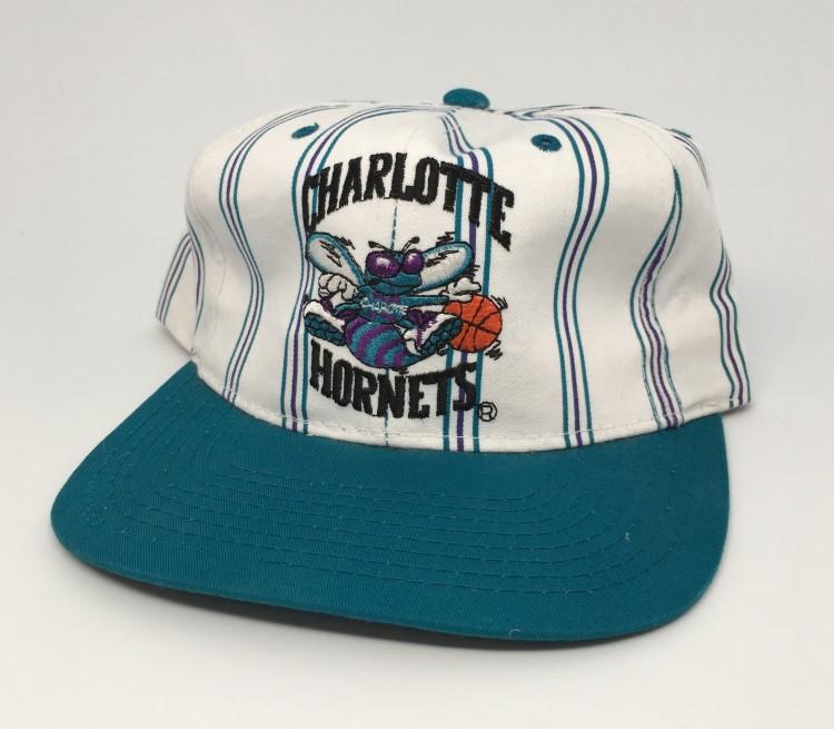 076ca82d4e6a3 vintage 90 s Charlotte Hornets Starter pinstripe NBA snapback hat deadstock