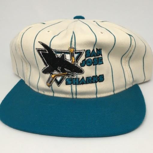 90's San Jose Sharks Starter pinstripe NHL snapback hat deadstock