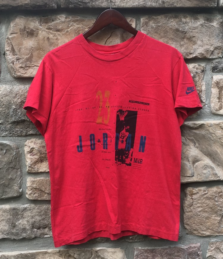 26438ca46038b2 vintage early 90 s Nike Michael Jordan stats t shirt youth large red