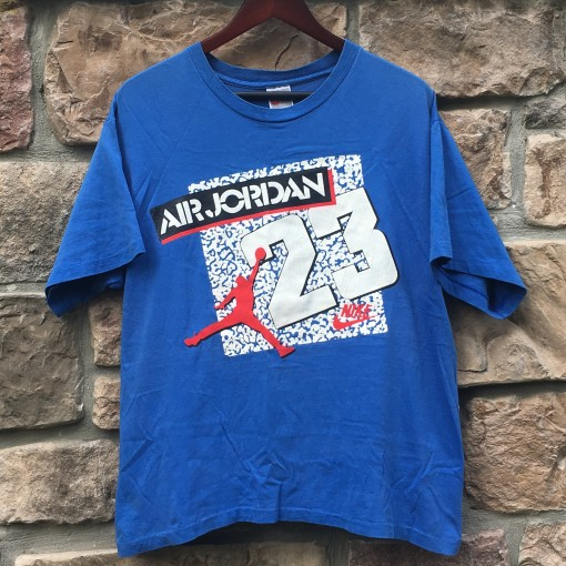 early 90's late 80's nike michael jordan t shirt true blue 3's size large