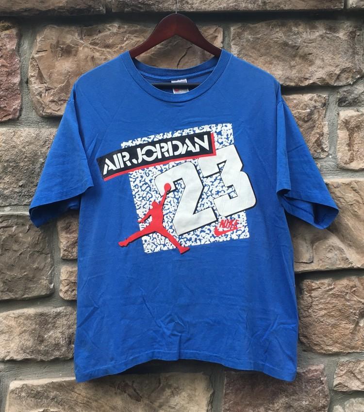 1756b5f2283fd 80's Nike Air Jordan True Blue T Shirt Size Medium