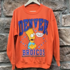 vintage 1990 Denver Broncos Bart simpson the simpsons NFL crewneck sweatshirt orange