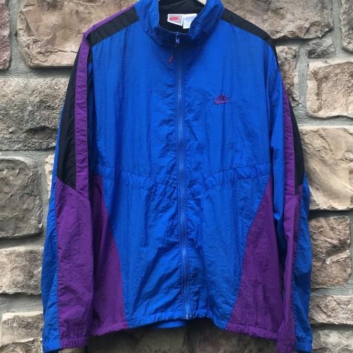 early 90's vintage nike windbreaker jacket size XL blue purple black