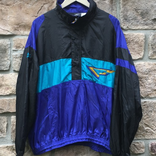 early 90's vintage Nike flight windbreaker jacket size large black purple aqua